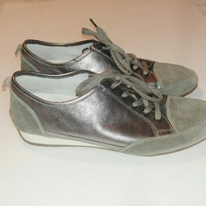 Gabor Comfort Gray Silver Leather Sneakers